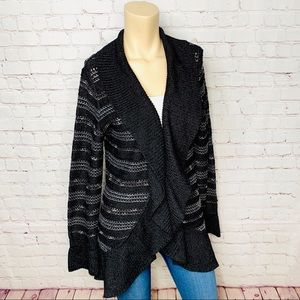 WHBM Long Cardigan Sweater Black White Stripes L